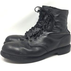 Red Wing Black Vintage Lace Up USA Boots Steel Toe